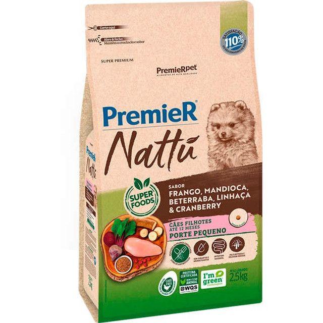Ração Premier Nattú Mandioca para Cães Filhotes de Pequeno Porte - 2,5kg