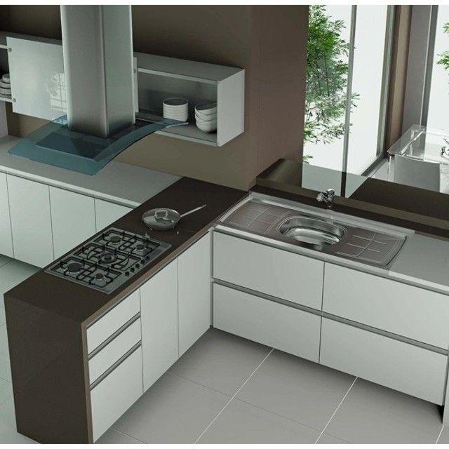 Pia Inox 100x54x12cm Bali Ghelplus + gabinete MDF sob medidas - Foto 4