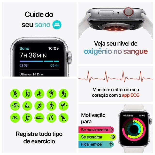 Apple Watch Series 6 (GPS + Cellular) 40mm caixa aço inoxidável e pulseira estilo milanês - Foto 5