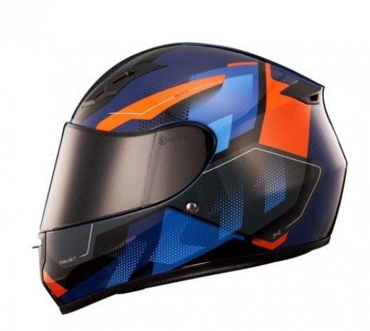 capacete x11 trust Pro Transit _ Azul com Laranja - Foto 2