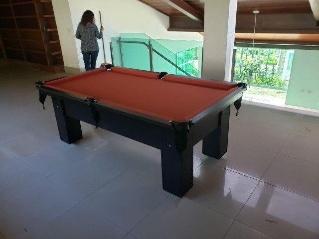 Mesa de Bilhar Preta TX Tecido laranja Modelo ZRJH090265 - Foto 4