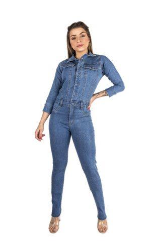 Macacão longo jeans manguinha feminino