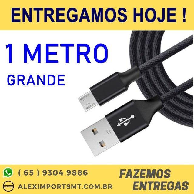 Cabo USB V8 1 Metro Tecido Shinka Preto