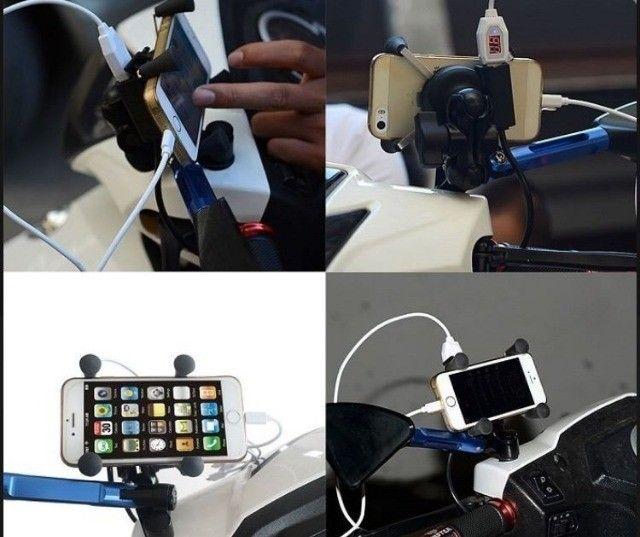Suporte Garra Para Celular Moto Universal Com Carregador Usb. - Foto 4