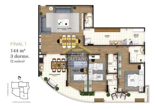 Apartamento 3 dorms, Alto Padrão - Forte - 124mts - Foto 8