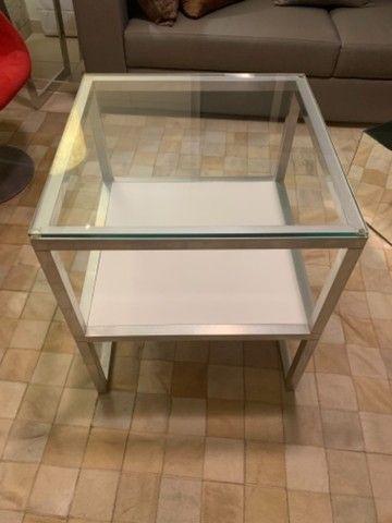 Mesa lateral quadradatoda alumínio , vidro e MDF - Foto 3