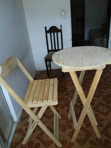 Conjunto de mesa e cadeiras bistrô pinho e cedro - Foto 3