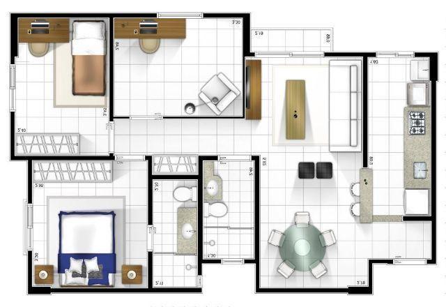 Apartamento em Samambaia, Condomínio Ventura, 3 quartos