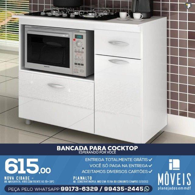 Armário para cooktop, forno e microondas 100% em MDF