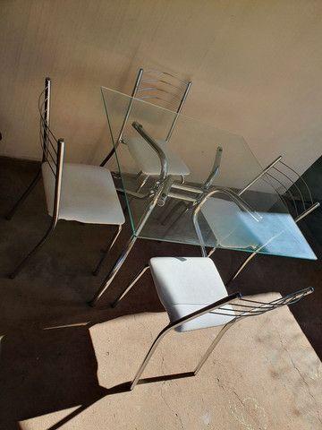 Mesa cromada 4 cadeiras - Foto 3