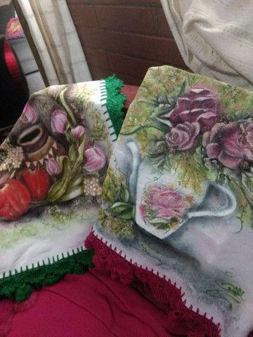 Panos de Copa pintados e barrado Crochet - Foto 4