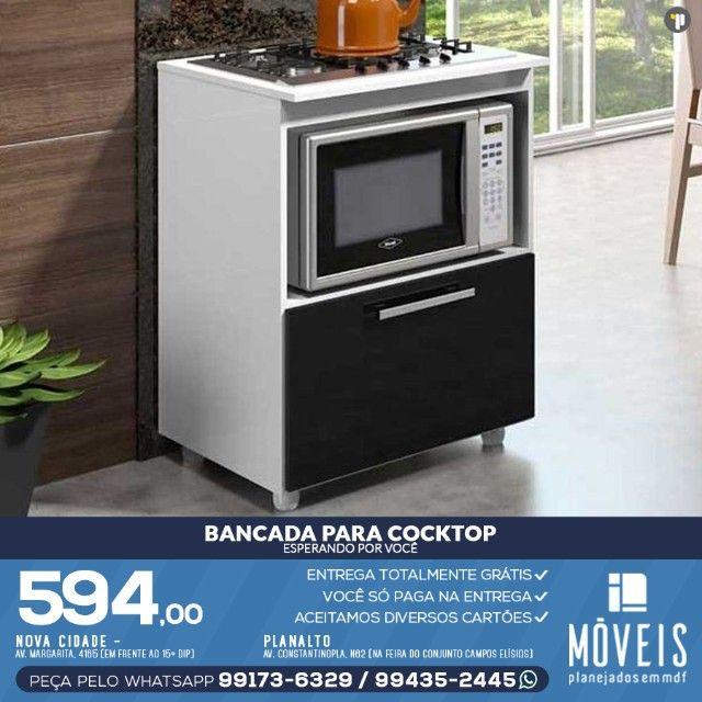 Armário para cooktop, forno e microondas 100% em MDF - Foto 6