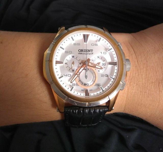 Relógio Orient Cronográfo Seminovo Com Pulseira De Couro