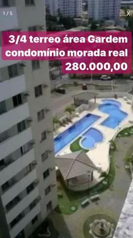 Condomínio morada real terreo 3/4 área Gardem 280 mil