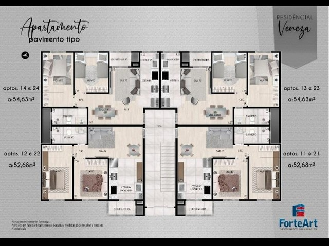 Apartamento em Planta Bairro Weissópolis, Pinhais/PR de 52m² 2 quartos à venda por R$ 190. - Foto 5