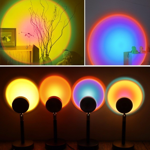 Luminaria Sunset Projetor Atmosfera Criativa Led Luz Noturna