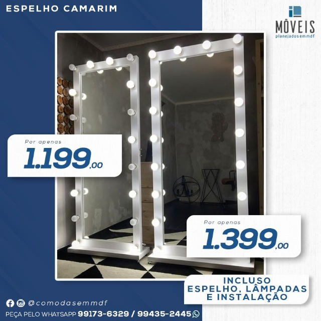 Espelho Camarim 100% MDF / Espelho + prateleiras - Foto 2