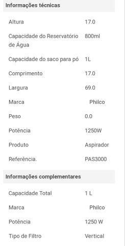 ASPIRADOR DE PÓ E ÁGUA PHILCO - Foto 3