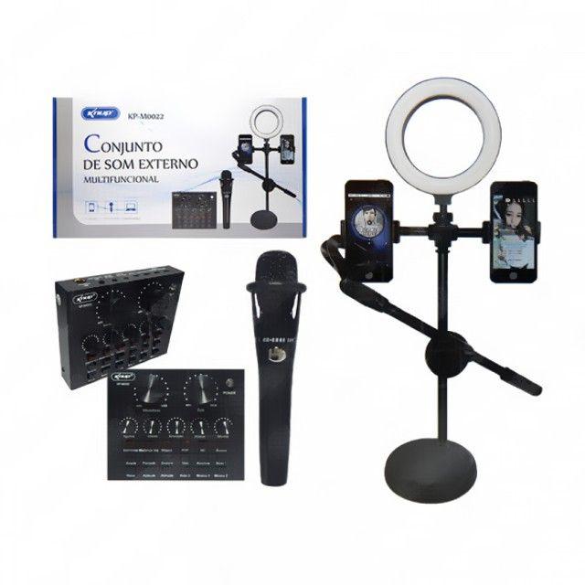 Conjunto de Som Externo Multifuncional Microfone Ring Light Suporte (KP-M0022) - Foto 2