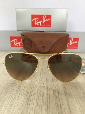 123c97256a119 Óculos de sol ray ban aviador degradê marrom novo - Bijouterias ...