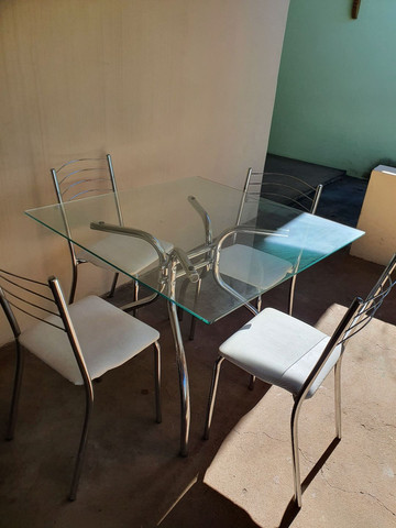 Mesa cromada 4 cadeiras - Foto 4