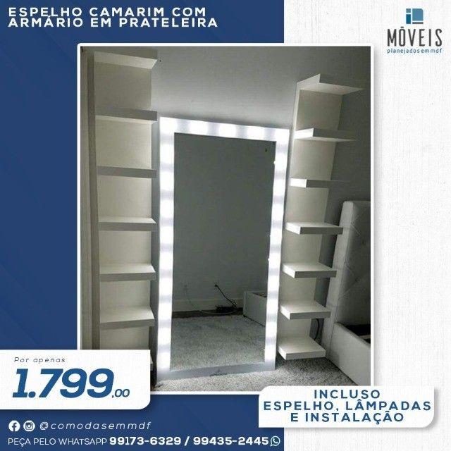 Espelho Camarim 100% MDF / Espelho + prateleiras - Foto 3