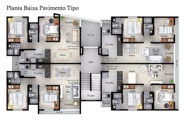 S38|Apartamento no Cristo| 56m| 2Q| 4° Andar| 1 VG - Foto 3