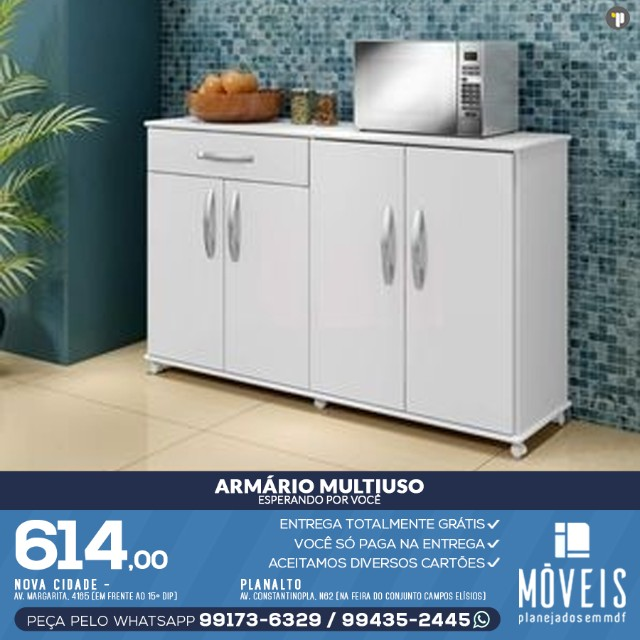 Armário para cooktop, forno e microondas 100% em MDF - Foto 2
