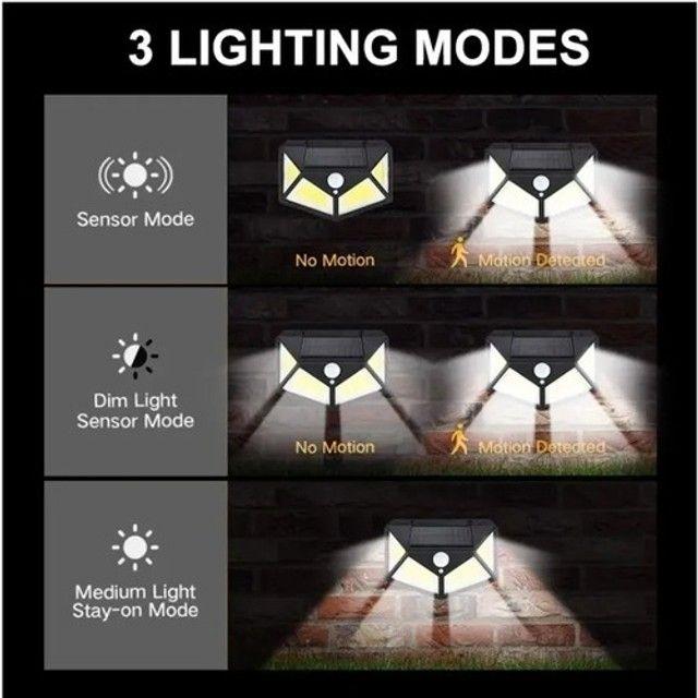 Luminária Solar Parede 100 Led Preta Sensor Presença Com 3 Funções - Foto 3
