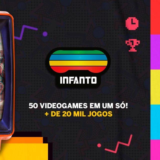 Console Infanto 3 - Video Game Retrô com 20 mil jogos antigos (2 controles) c/ NFe MS - Foto 5