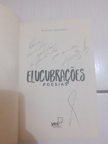 """Usado: Livro """"Elucubrações: Poesias"""", de Marcos Bulhões, Autografado - Foto 3"""