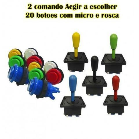 Kit arcade 20 botões aegir + 2 comandos aegir com micros e rosca completos - Foto 2