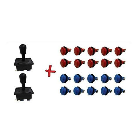 Kit arcade 20 botões aegir + 2 comandos aegir com micros e rosca completos