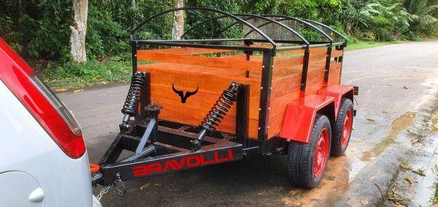 Reboque Carrocinha Dupla carga da BRAVOLLI ' Novidade para empresas e empreendedor