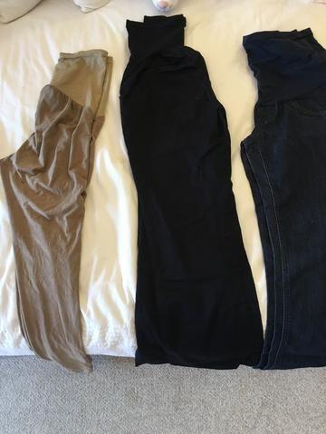 3 calças para gestante com tecido maleável na barriga