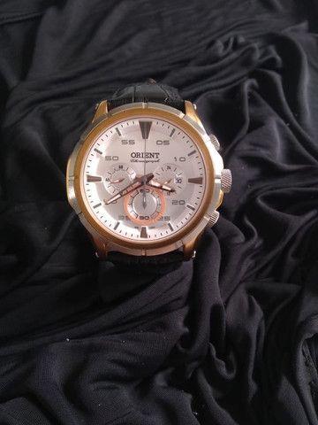 Relógio Orient Cronográfo Seminovo Com Pulseira De Couro - Foto 2