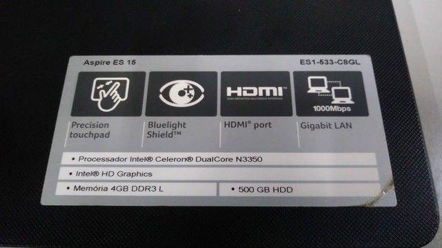 "Acer ES1-533-C8GL - Tela 15.6"", Impecável! - Foto 5"