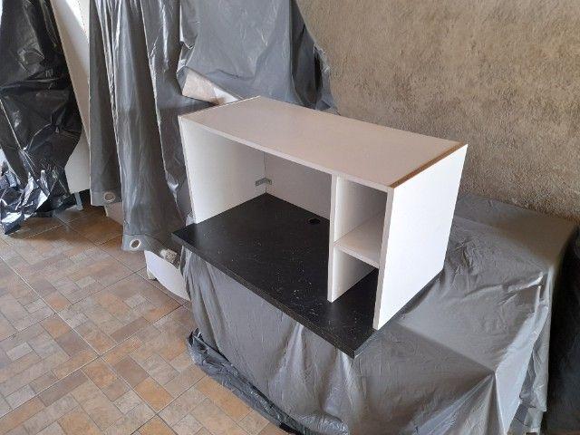 Móvel para Micro-Ondas ou Forno Branco e Preto - Foto 3