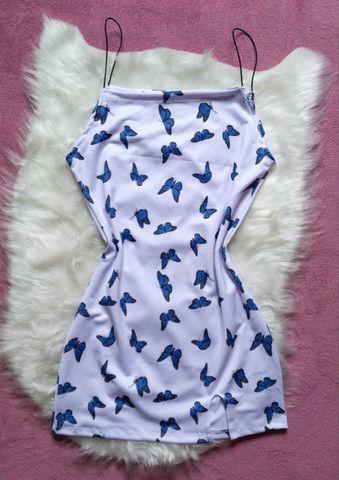 Vestido alça elástico borboletas azuis