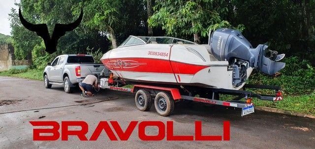 Carretinha Reboque Transporte de lancha e Barcos da Bravolli  - Foto 2