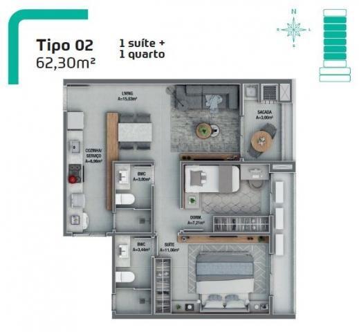 Lindo apartamento 01 suíte + 01 dormitório   próximo a recreativa da embraco   entrada par - Foto 12