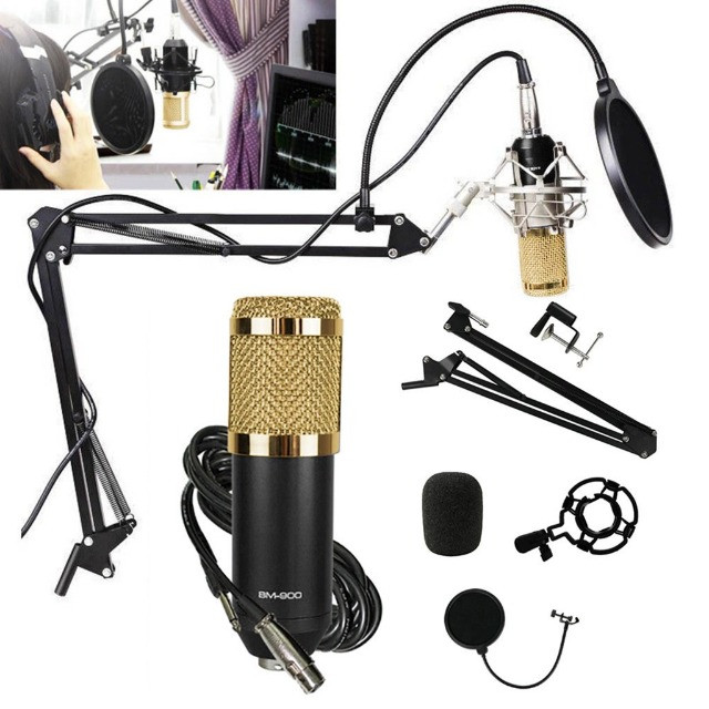 Kit Microfone Condensador Profissional bm900 completo.