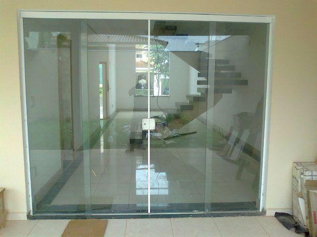 Porta vidro temperado incolor 210x200 4f materiais de for Porta 4 folhas de vidro temperado