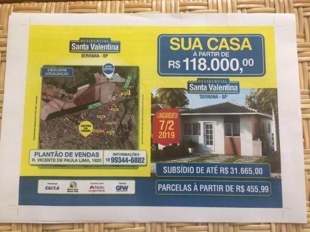 Serrana-SP - Lançamento de Casas Térreas. A partir de R$ 118.000,00, 2 quartos - Foto 12