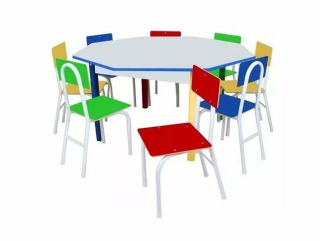 Mesa Infantil Oitavada Carlu em Ferro - Com 8 Cadeiras 1738 - Foto 2