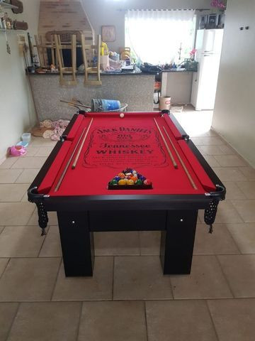 Mesa Charme de Sinuca Cor Preta Tecido Vermelho Logo Jack Daniels TLLK5506 - Foto 2