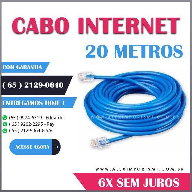 Cabo de Internet 20 Metros Cabo de Rede + 2 Rj45 + Clipado