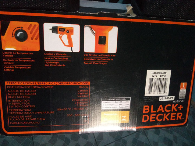 SOPRADOR TERMICO HEAT GUN BLACK DECKER 1.800 W - Foto 6