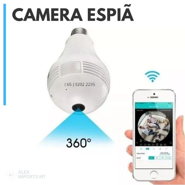 Camera de Seguranca Original Ip Lampada Vr 360