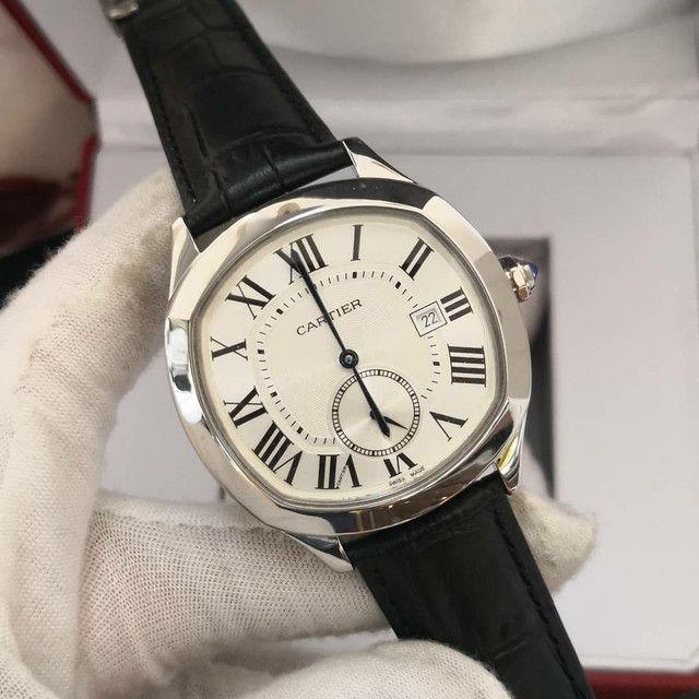 Relógio Cartier de Couro Preto Automático